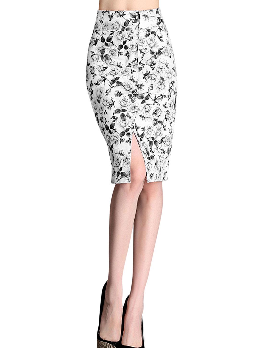 Lady Chic Floral Prints Hidden Zipper Fake Pockets Pencil Skirt Light Gray XS