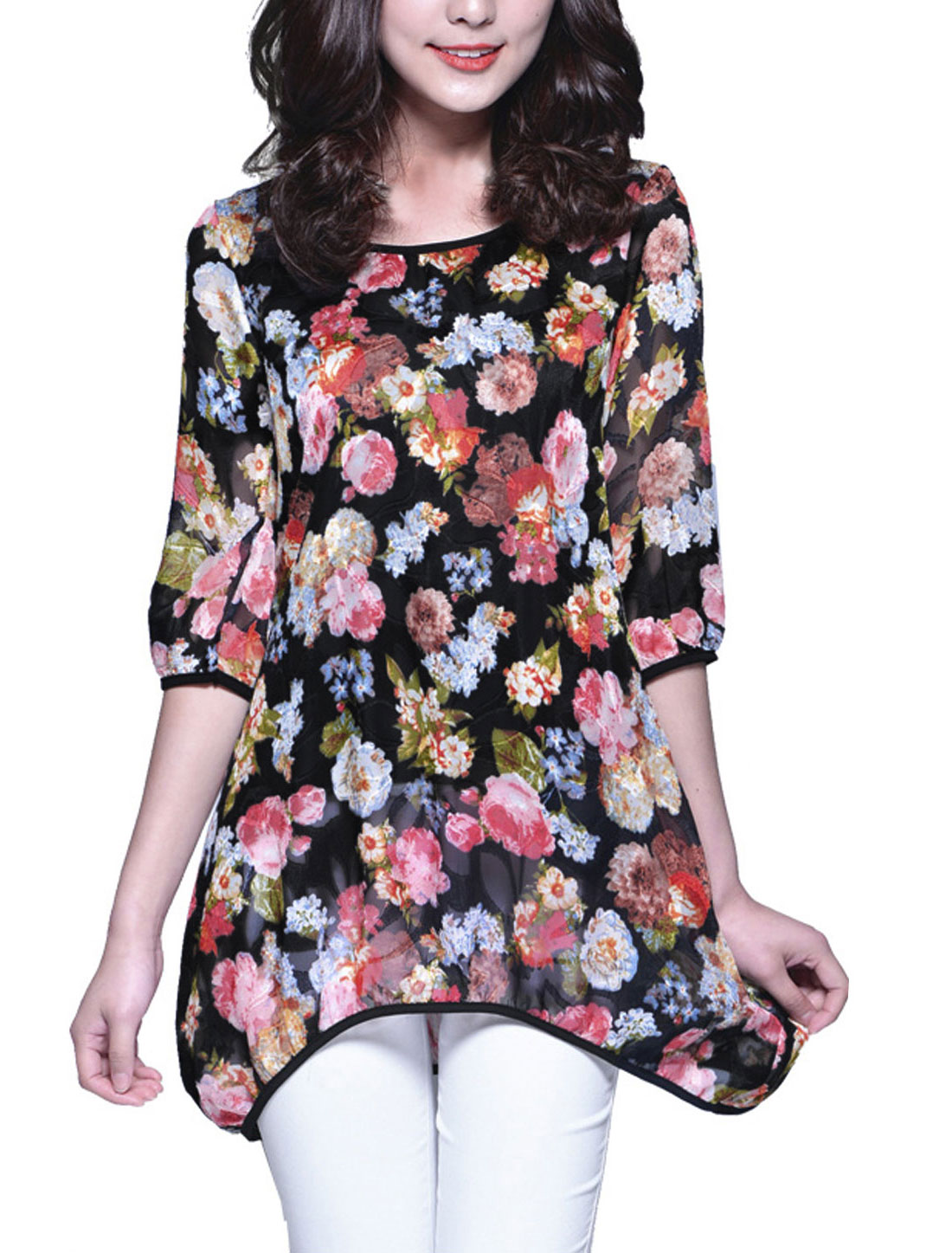 Lady Floral Prints Round Neck 3/4 Sleeve Slipover Tunic Blouse w Waist Strap Black M