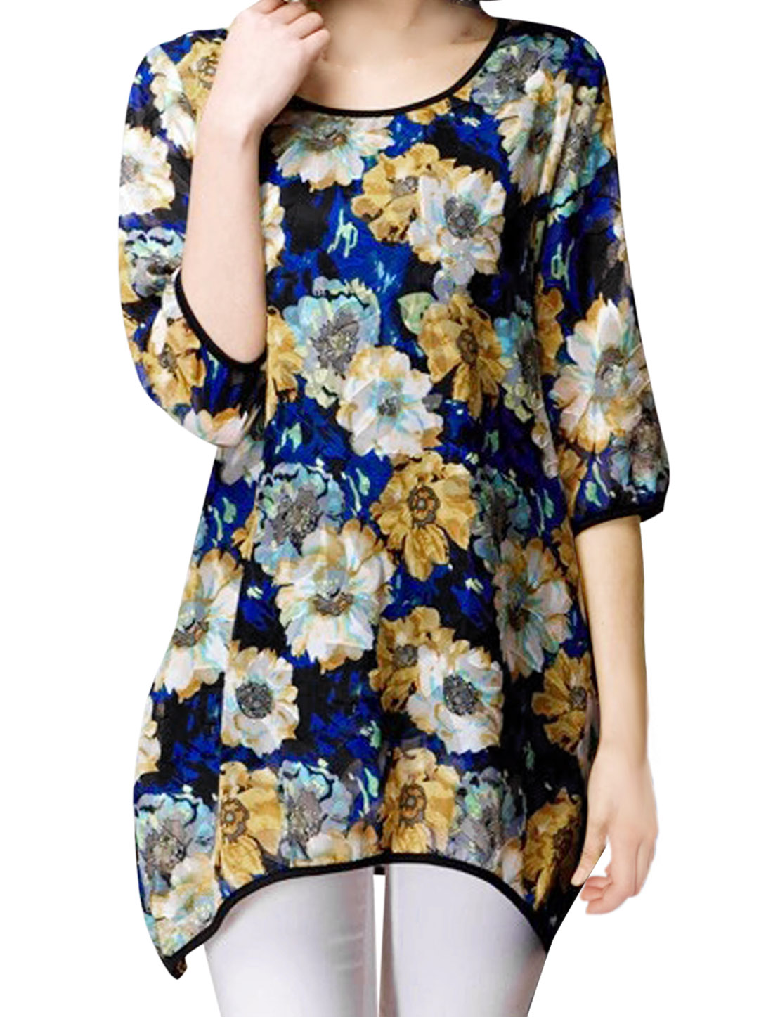 Floral Prints 3/4 Sleeve Slipover Tunic Blouse for Lady w Waist Belt Blue M