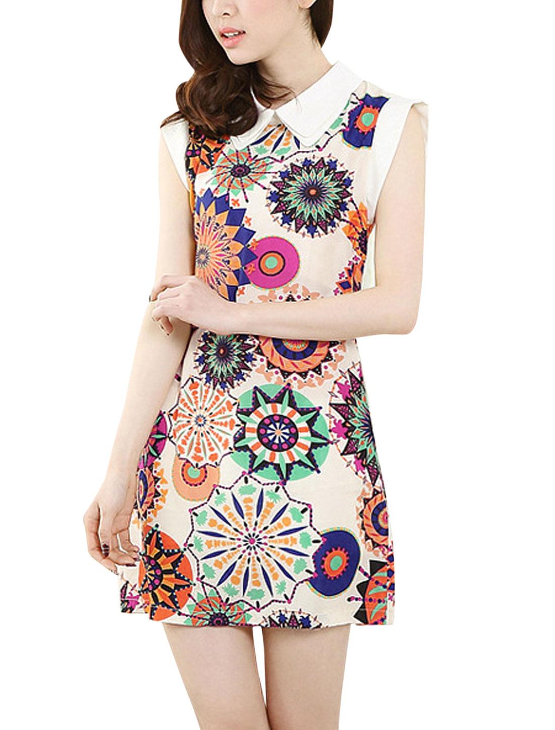 Lady Geometric Prints Double-layered Peter Pan Collar Sheath Dress Multi-color M