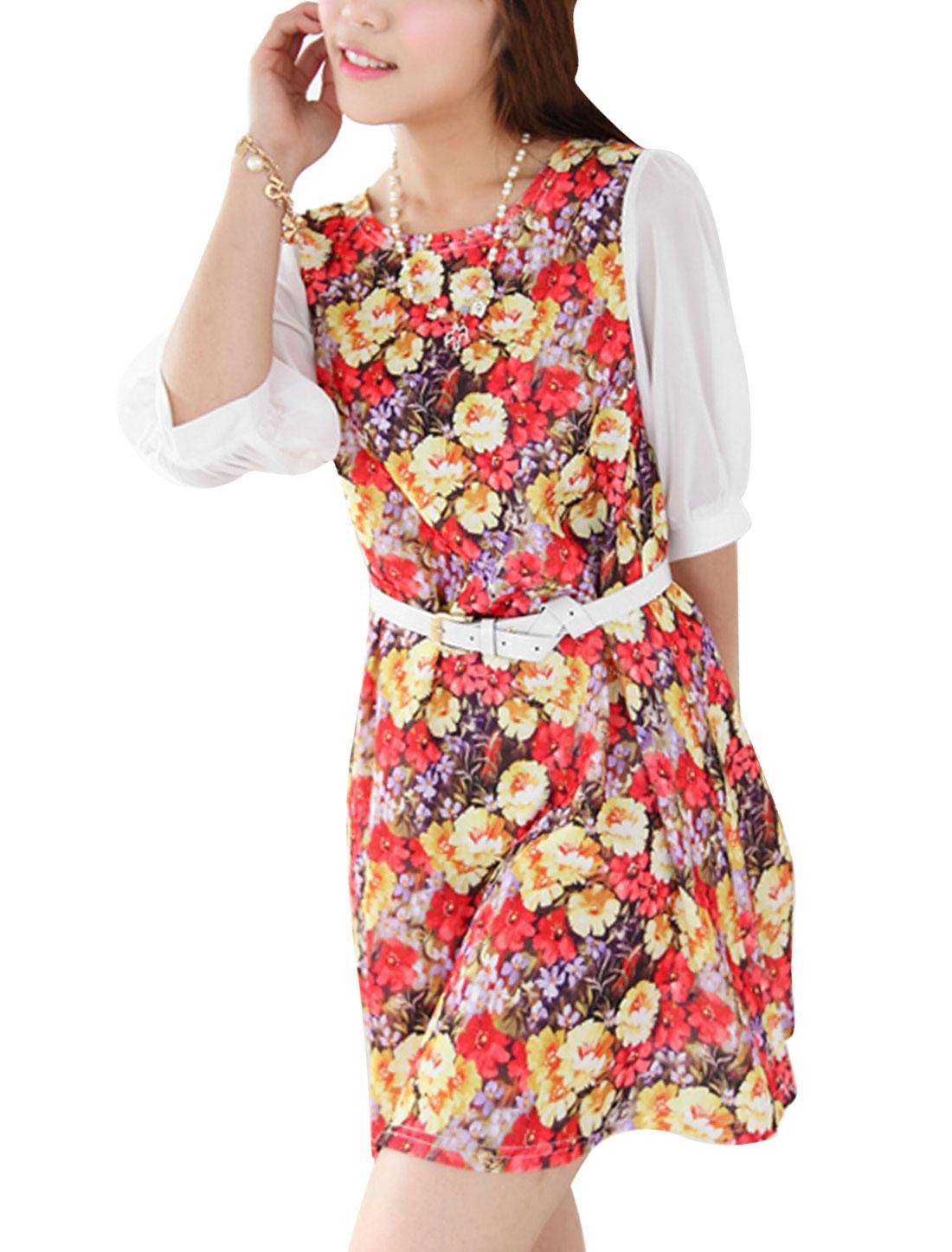 Woman Design 3/4 Sleeve Floral Prints w Belt Dress Multicolor M