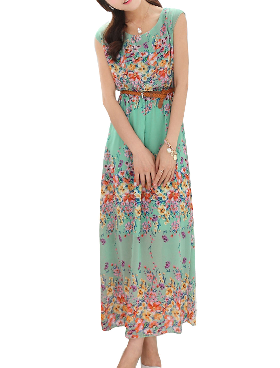 Women Sleeveless Elastic Waist w Belt Flower Pattern Dress Green XS