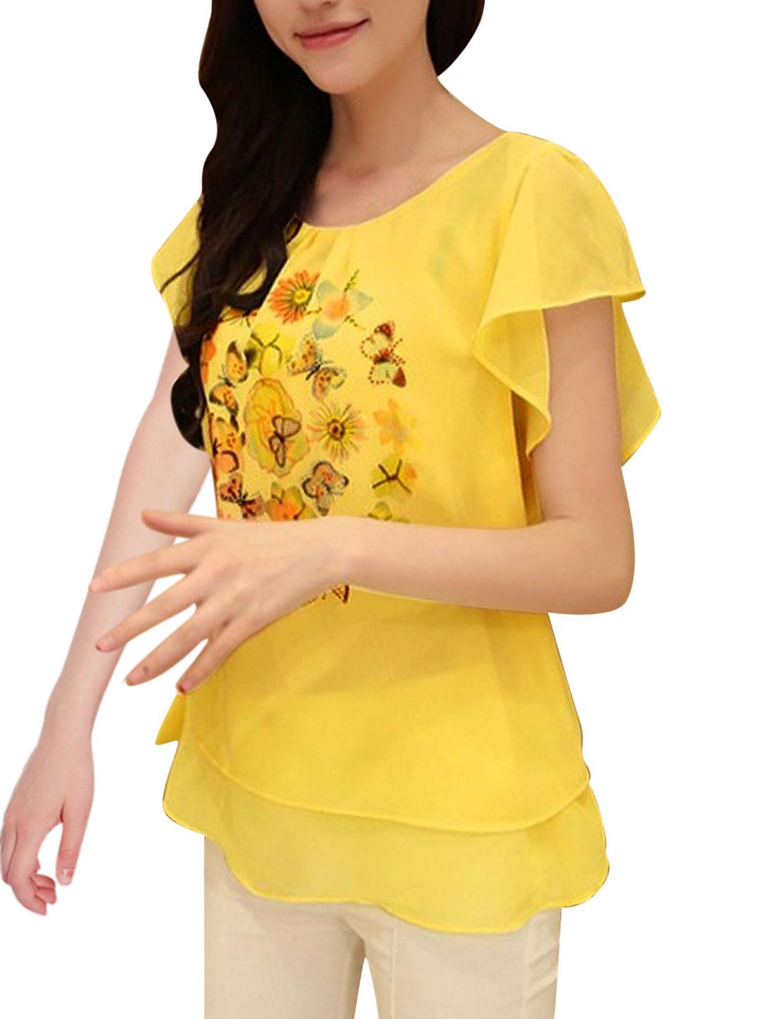 Women Butterfly Sleeve Flower Pattern Sweet Chiffon Blouse Yellow S