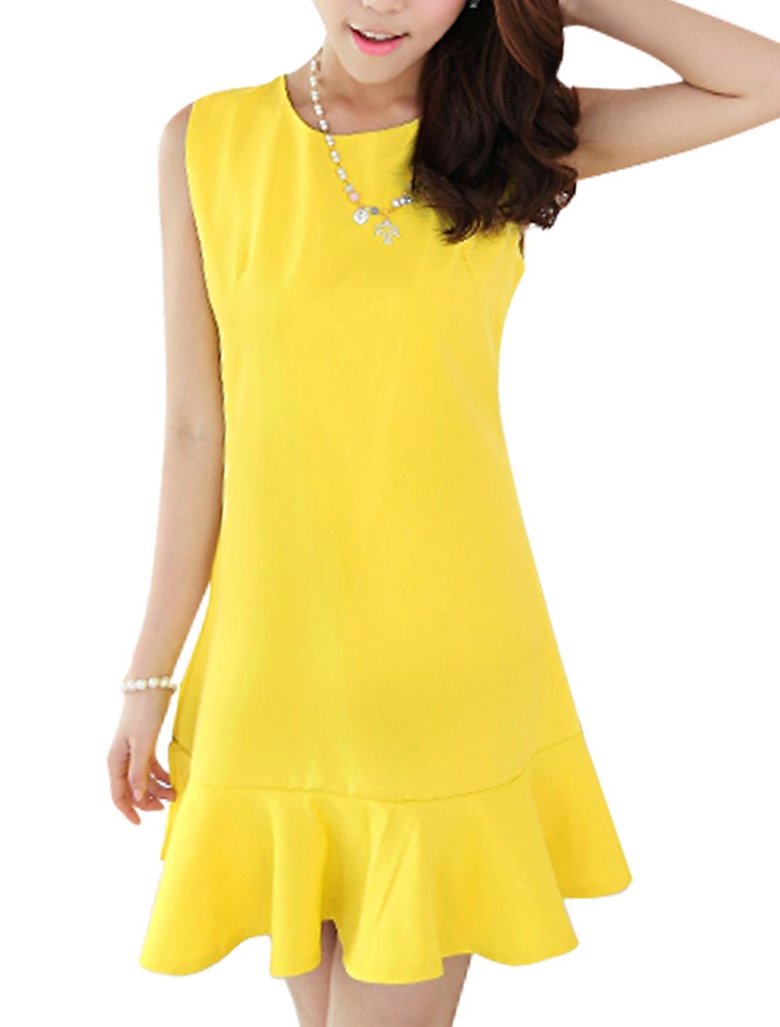 Ladies Slipover Round Neck Flouncing Hem Sweet Tank Dress Bright Yellow M