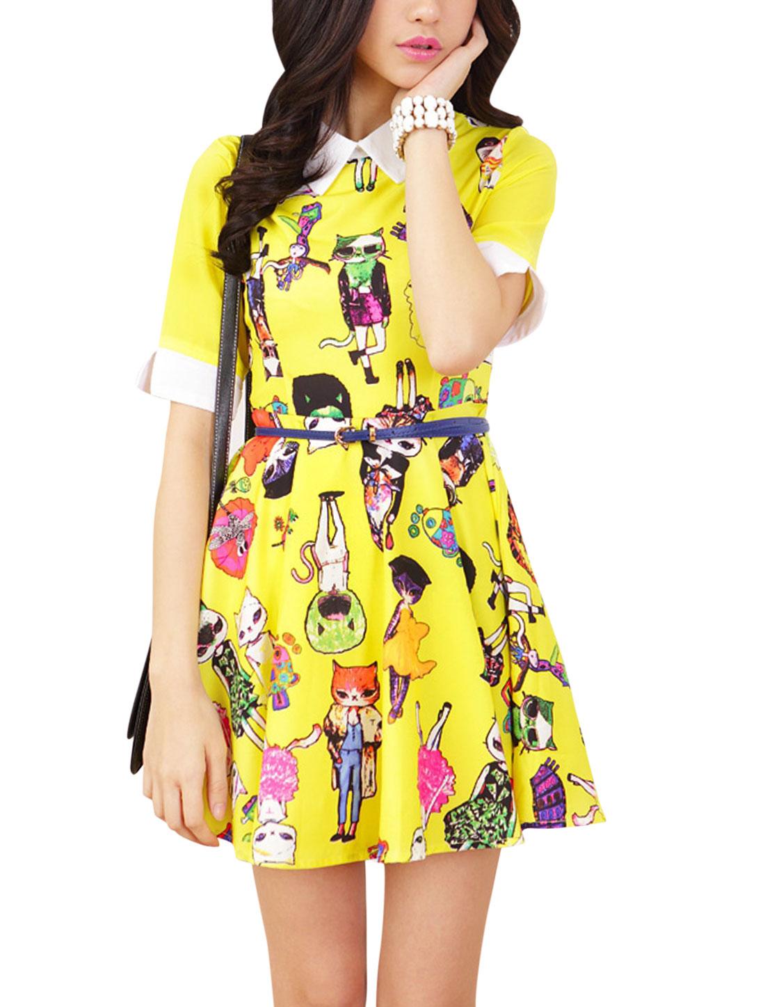 Lady Doll Collar Short Sleeve Split Cuffs Cartoon Prints Dress Yellow M