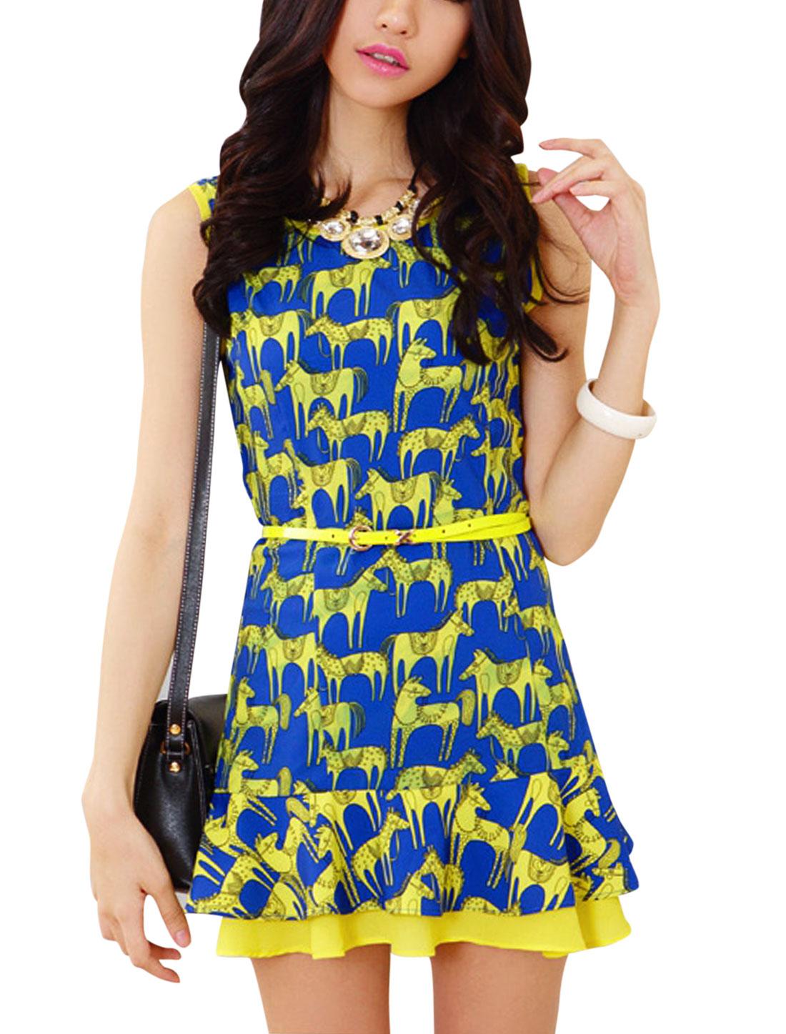 Lady Concealed Zipper Side Horse Pattern Dress w Belt Blue Yellow S