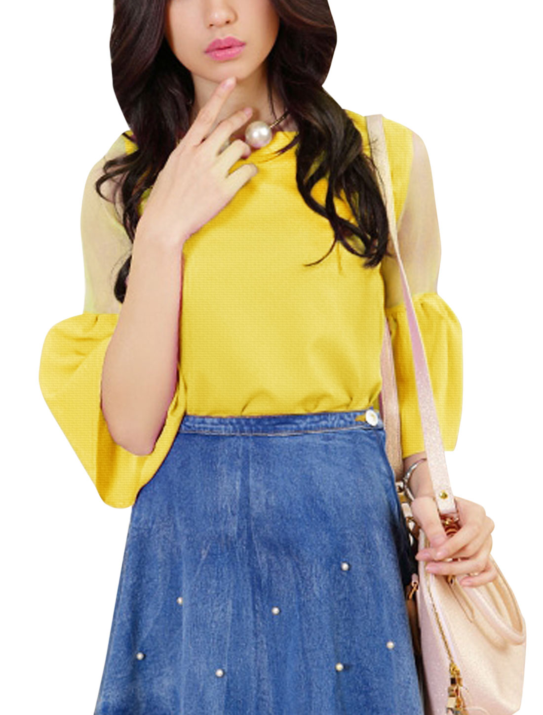 Lady Stylish Trumpet Sleeve Concealed Zipper Back Blouse Yellow M