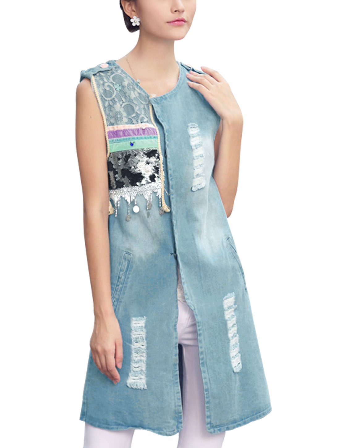 Lady Single Breasted Two Fake Pockets Destroyed Design Tunic Jean Jacket Light Blue S