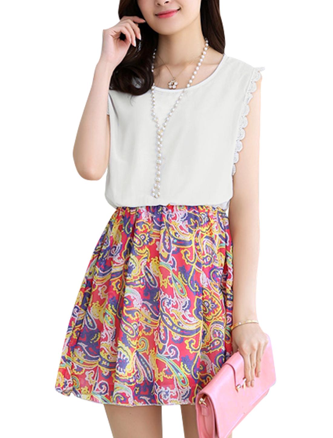 Ladies Flouncing Hem Novelty Prints Sweet Chiffon Tank Dress Fuchsia White S
