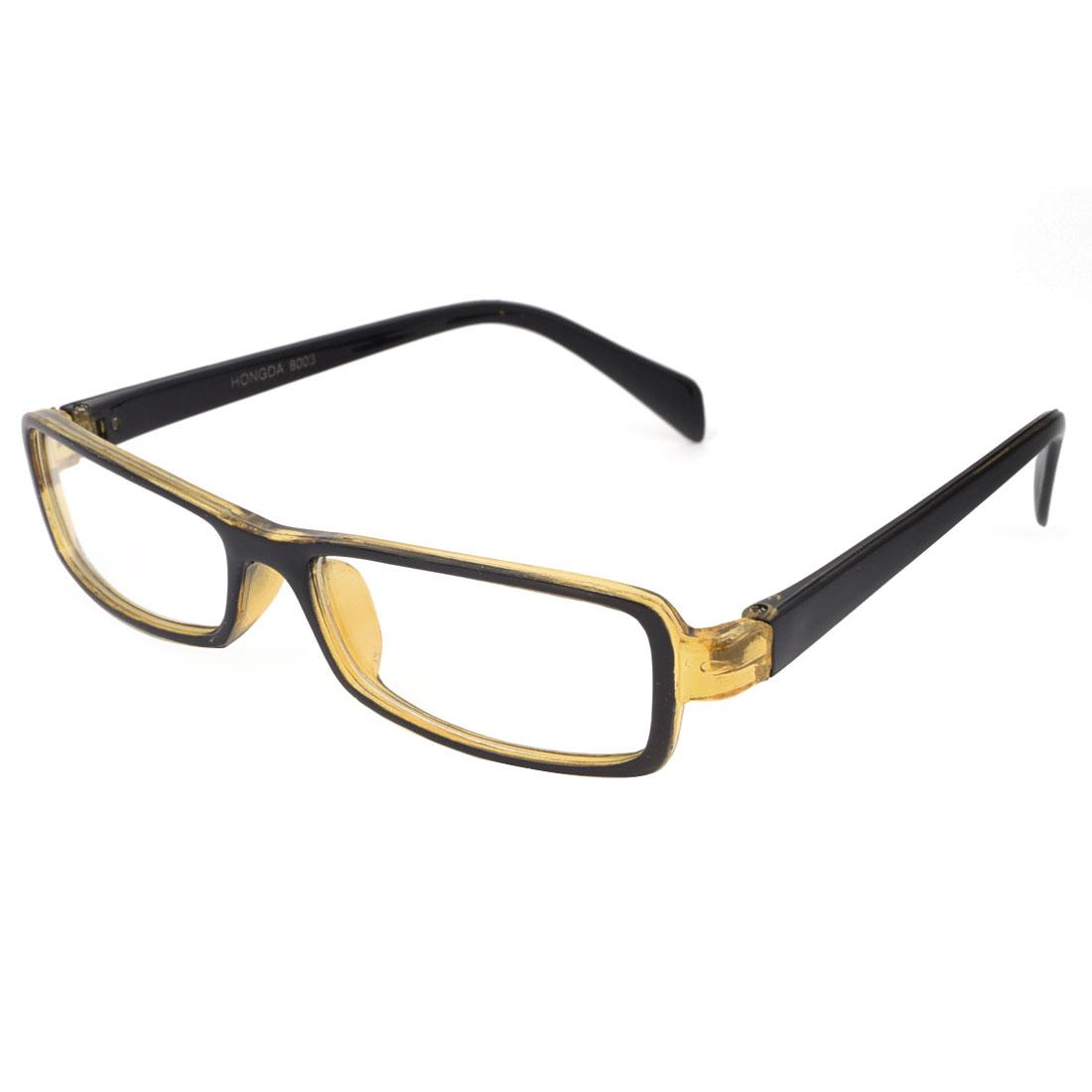 Women Amber Black Plastic Full Frame Clear Lens Plain Glasses Spectacles