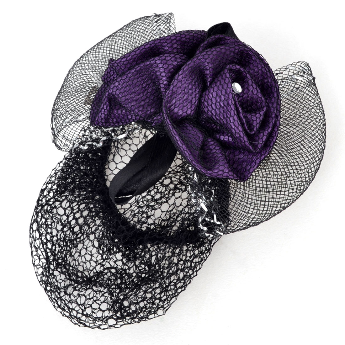 Lady Gift Purple Flower Bowknot Ornament Snood Net Hair Clip Barrette Black