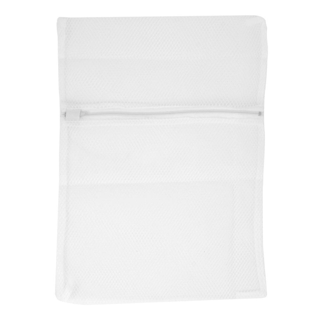 Washing Machine Zipper Closure White Nylon Mesh Clothes Socks Washing Bag 30cm x 40cm