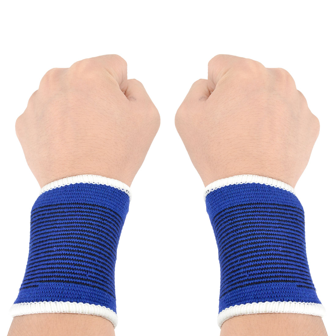 Sports Cotton Blends Pullover Recovery Wrist Support Protectors Wrap Blue Pair