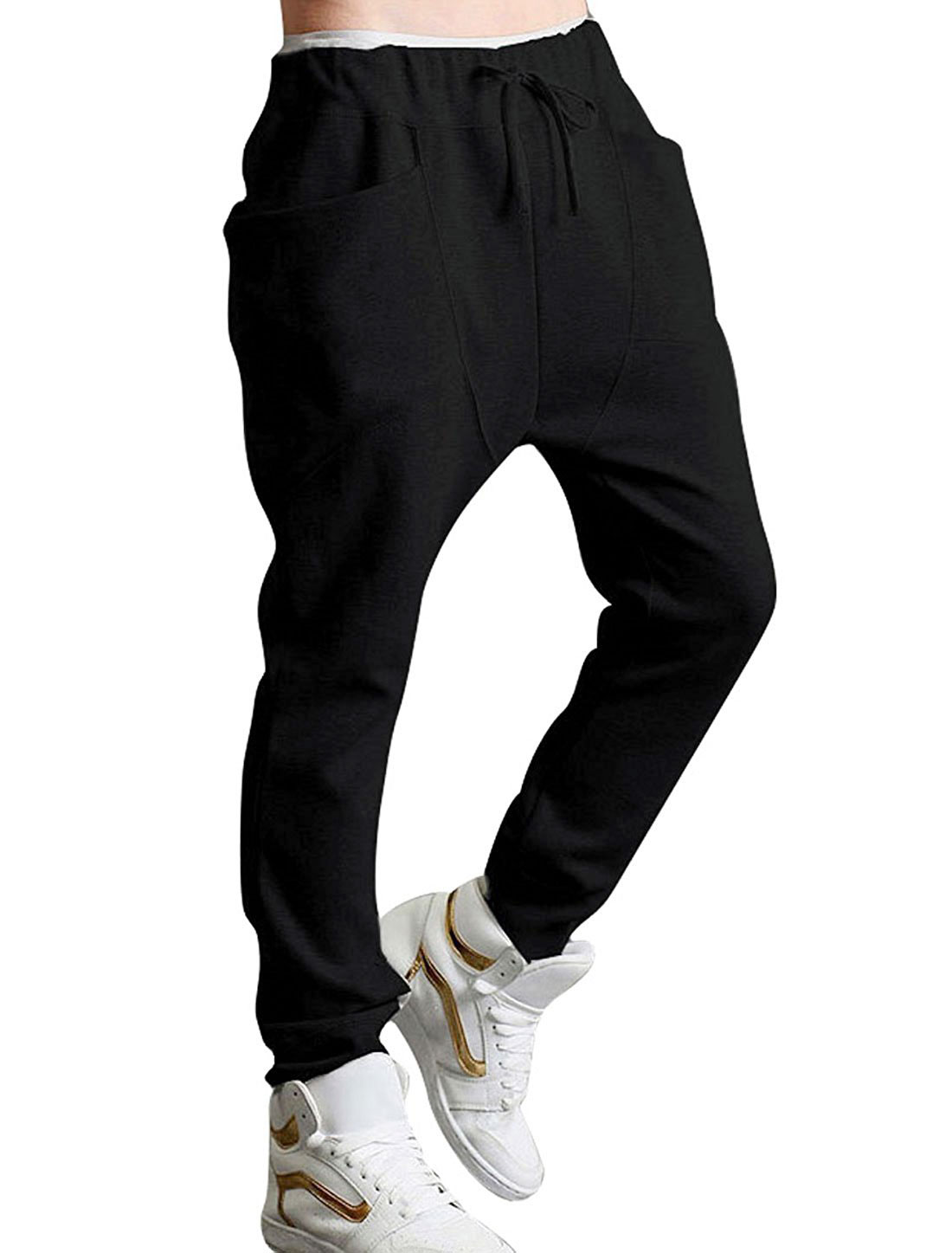 Double Pocket Stretchy Waist Black Casual Pants for Men W30