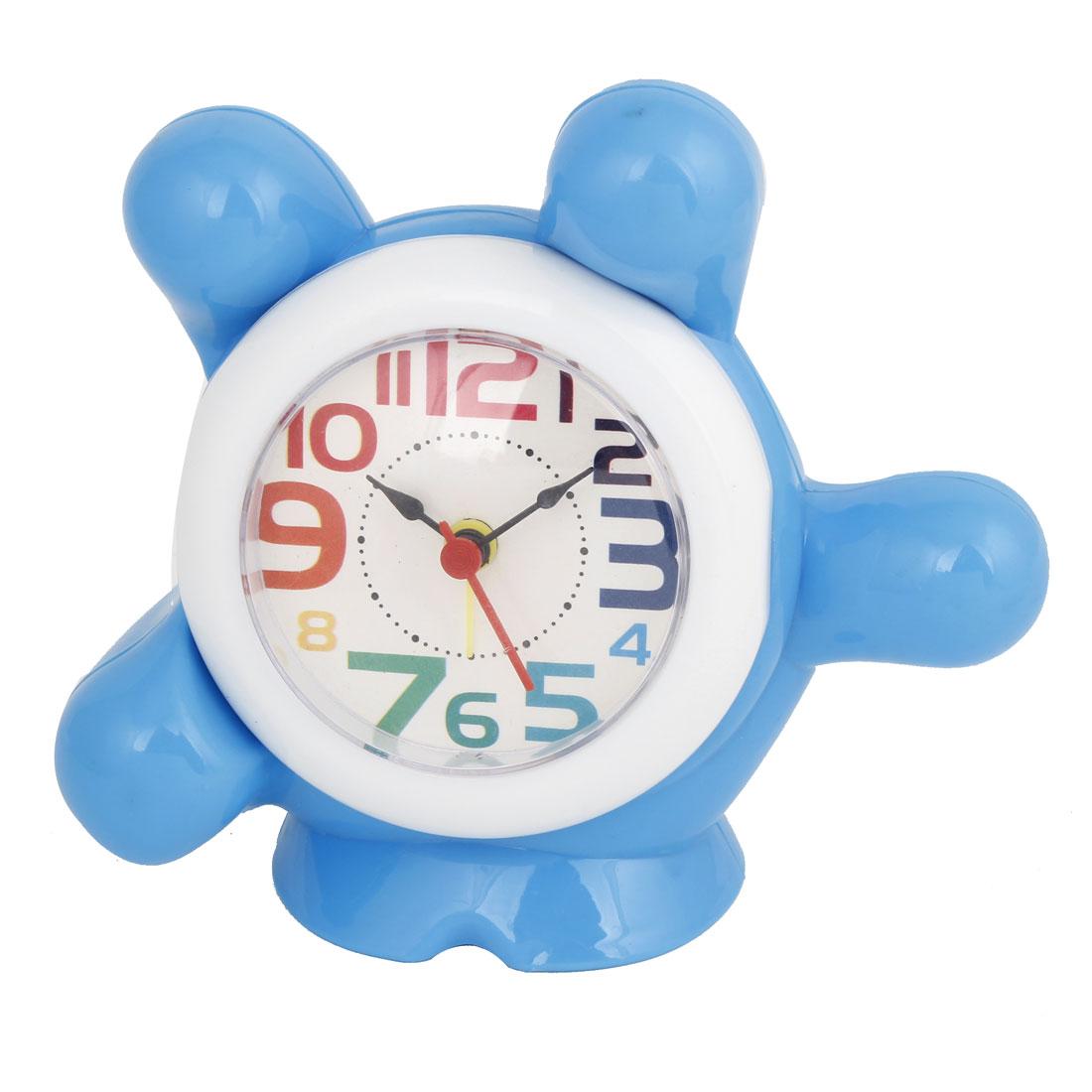 Blue Plastic Alarm Clock Palm Shaped Money Coin Saving Piggy Bank Box Holder