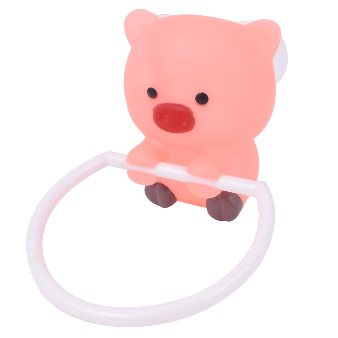 Bathroom Plastic Cartoon Pig Shaped Round Ring Towel Hanger Holder