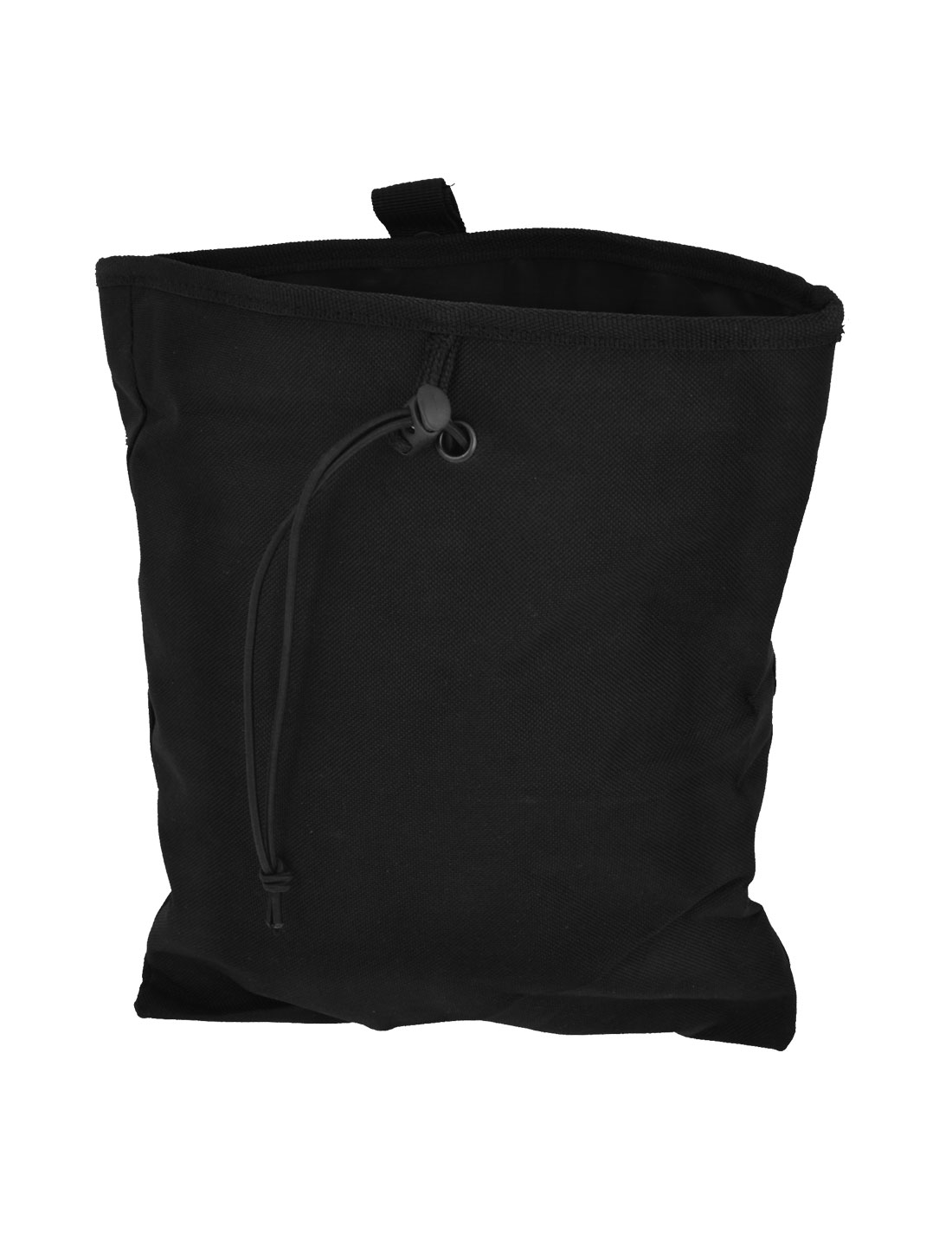 Hiking Drawstring Closure Rectangular Canvas Pouch Pack Bag Black