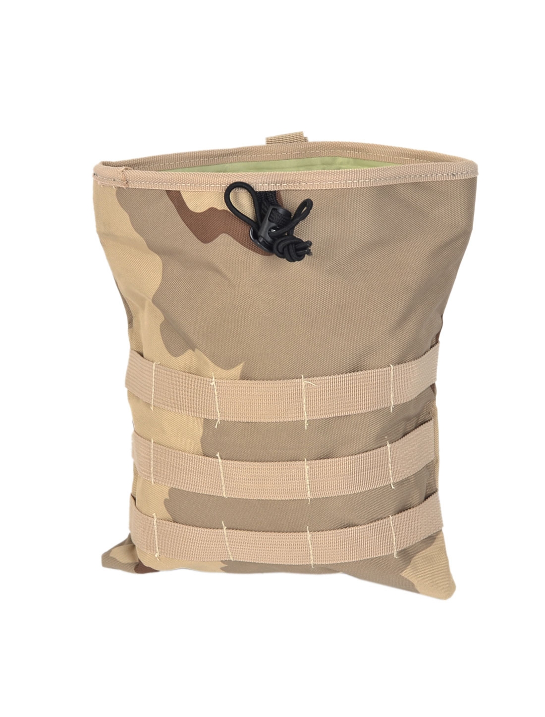 Hiking Drawstring Closure Camouflage Pattern Canvas Pouch Pack Bag Khaki