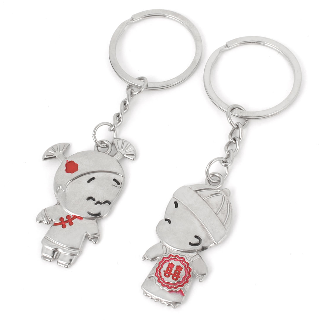 2 Pcs Double Happiness Print Boy Kissing Girl Design Metal Keyring Keychain Pendant Ornament for Lovers