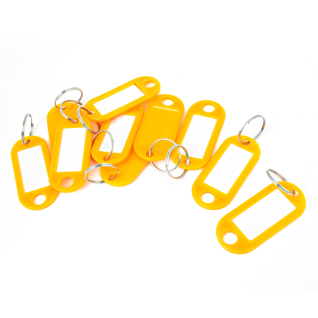Plastic Key ID Name Card Label Tags Split Ring Keyring Keychain Orange 10 Pcs