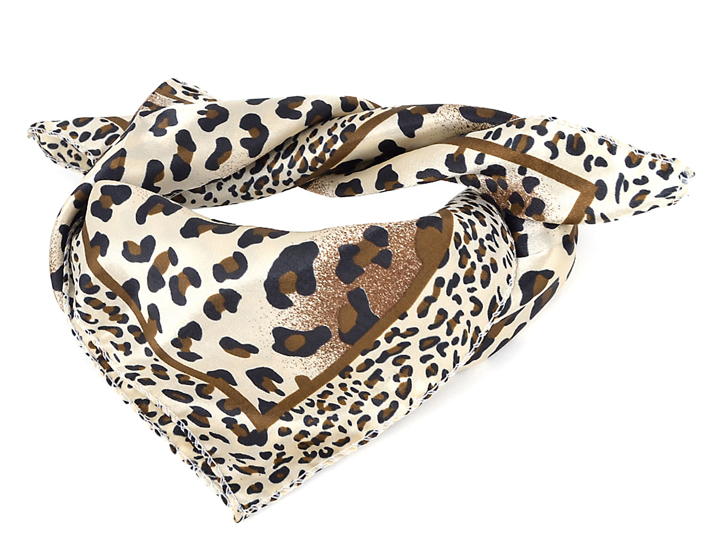 Lady Women Allover Leopard Pattern Beige Black Brown Square Soft Polyester Scarf Shawl Wrap