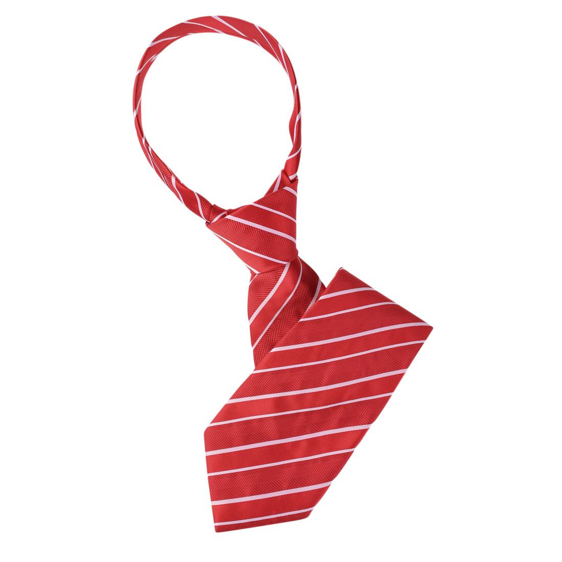 Red White Pinstripes Pattern Self Tie Necktie for Men