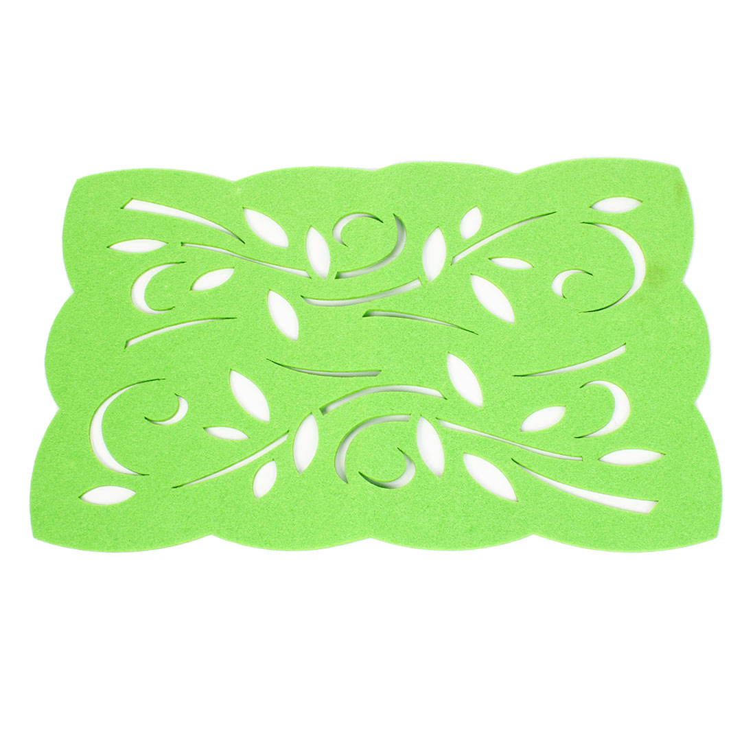 Green Felt Hollow Out Flower Table Mat Insulating Pad Placemat