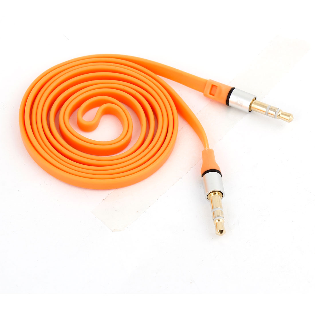 Orange 3.5mm Male to 3.5mm Male Plug Adapter Stereo Audio Extension Flat Cable 1M Long