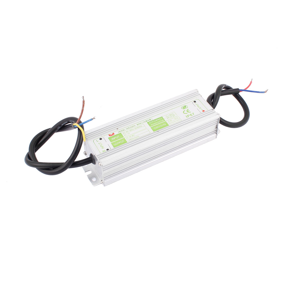 AC90-265V 1A to DC30-36V 2400mA 80W IP67 Waterproof Rectangle Aluminum Shell LED Driver Power Supply Transformer Converter