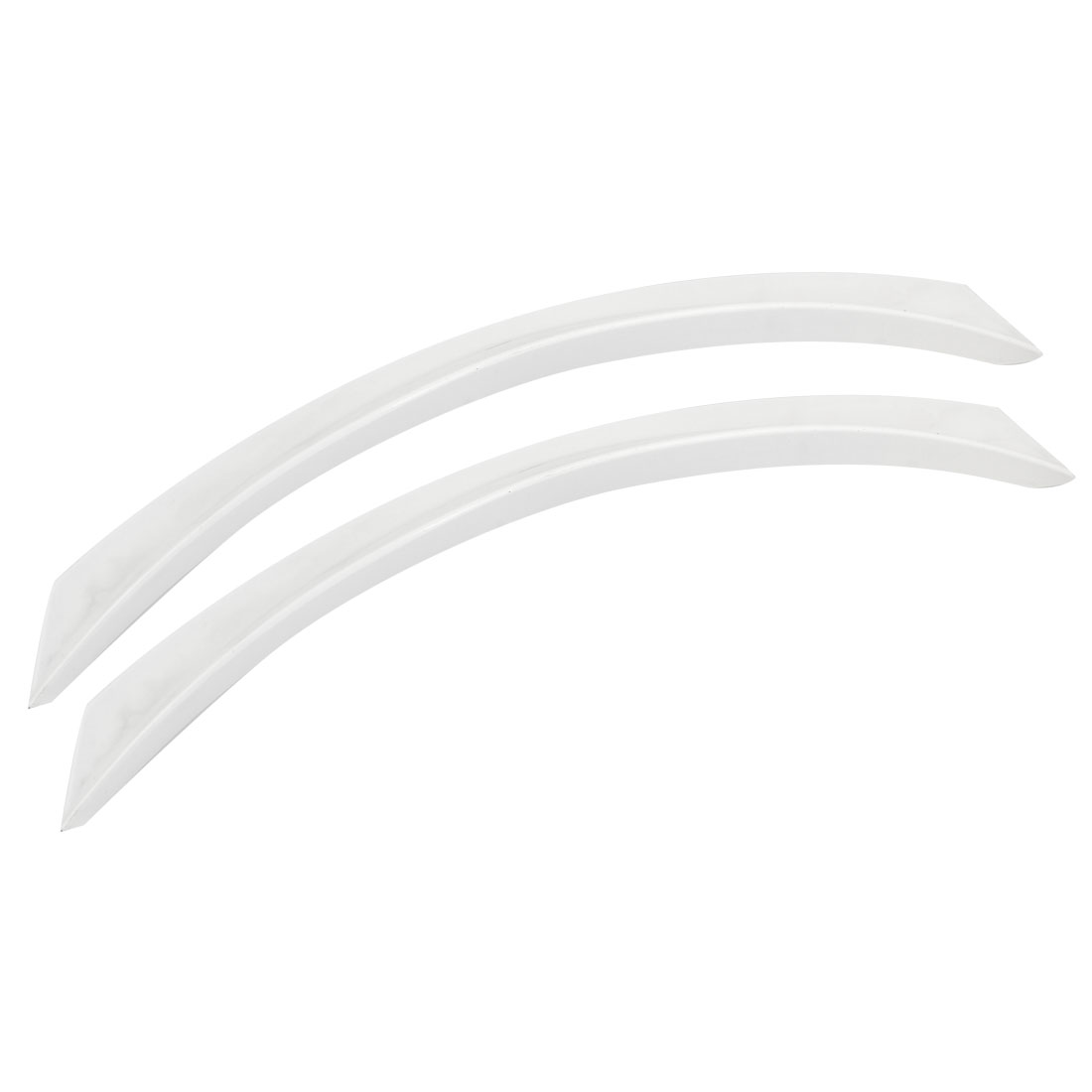 2 Pcs Vehicle White Plastic Self Adhesive Wheel Eyebrow Trim Strip Sticker