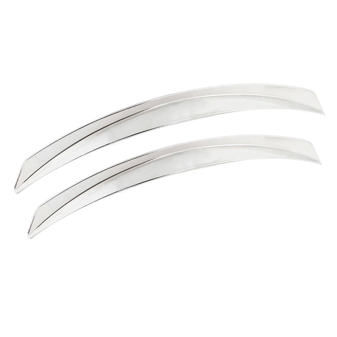 Pair Truck Car Decorative Wheel Arch Shape Eyebrow Strip Guard Silver Tone