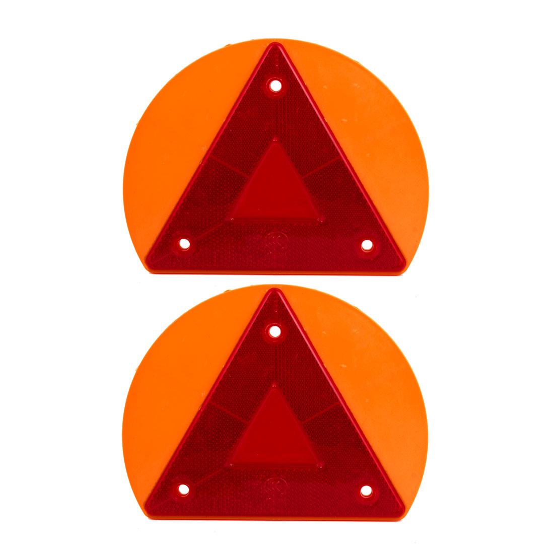 2 Set Semicircle Shape Red Plastic Road Block Safety Warning Reflection
