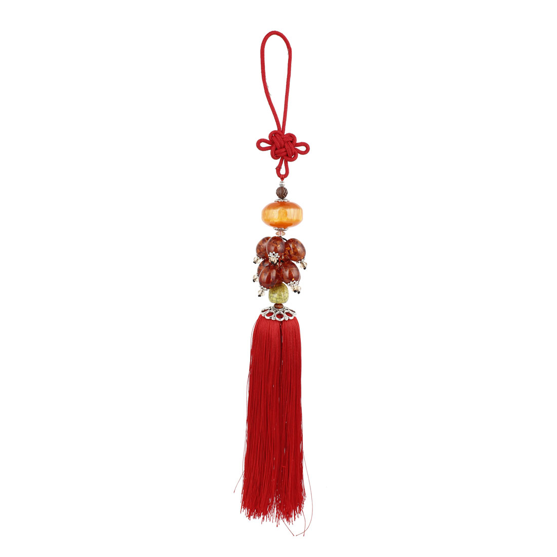 Vehicle Red Nylon Chinese Knot Accent Plastic Beads Pendant Hanging 40cm Long