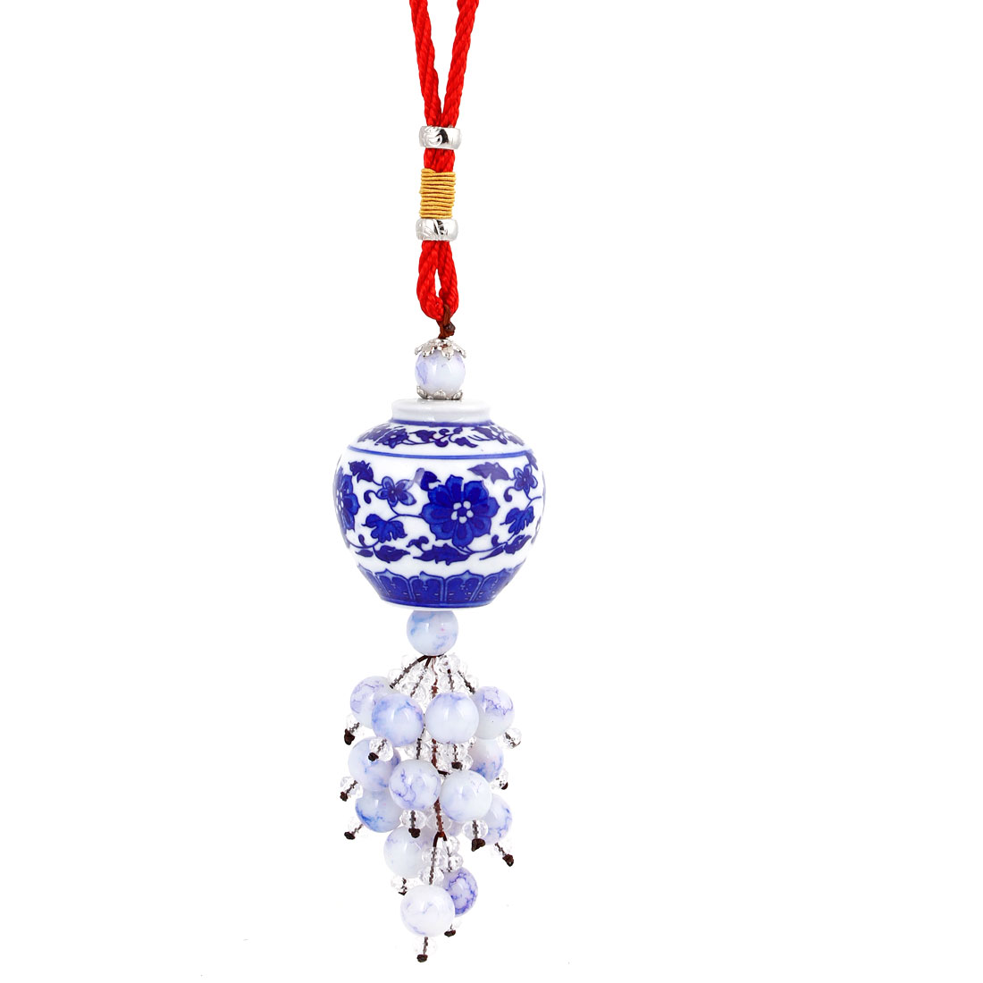 Beads Linked Blue White Ceramic Wine Jar Pendant Hanging Decoration for Auto Car