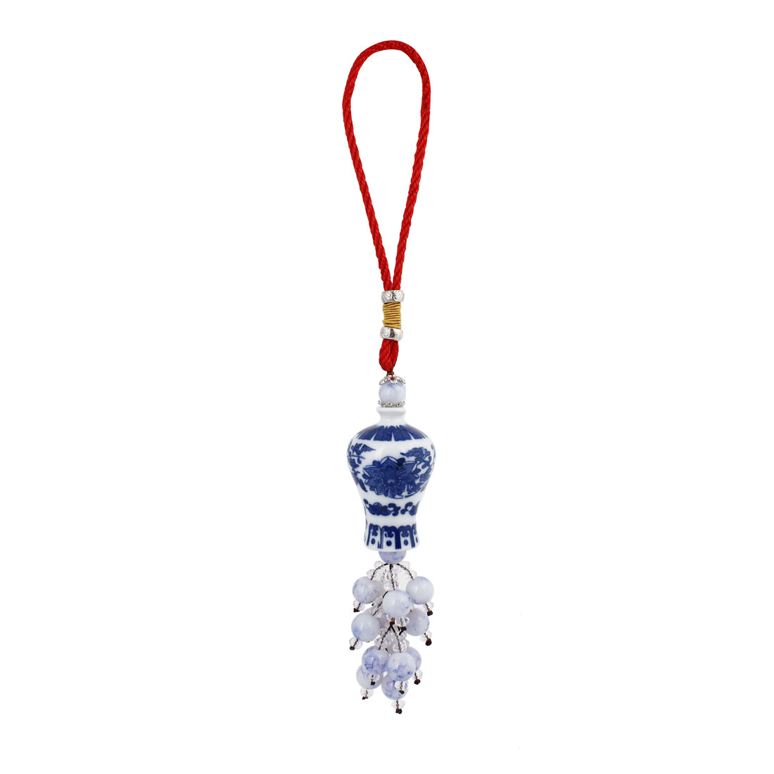 Auto Blue White Ceramic Porcelain Shape Link Beads Pendant Hanging Ornament 30cm Long