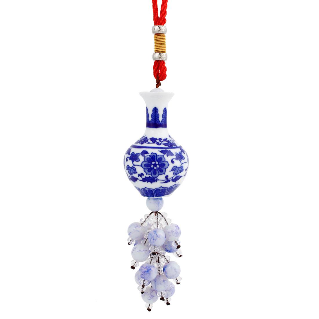 Vehicles Bead Decor Blue White Porcelain Pendant Hanging Decoration 30cm Long