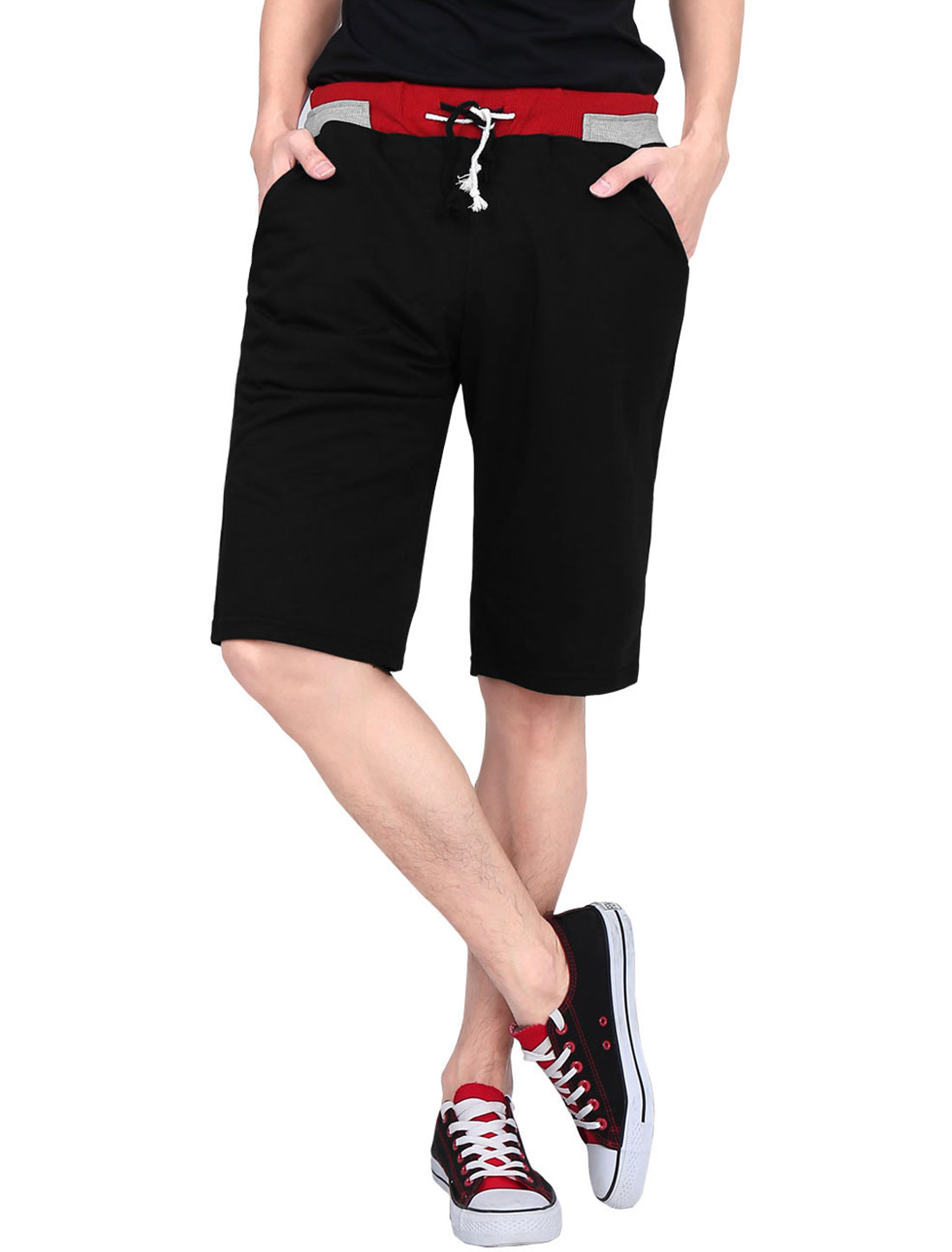 Men Fashion Ribbing Detail Two Pockets Sports Shorts Black W28