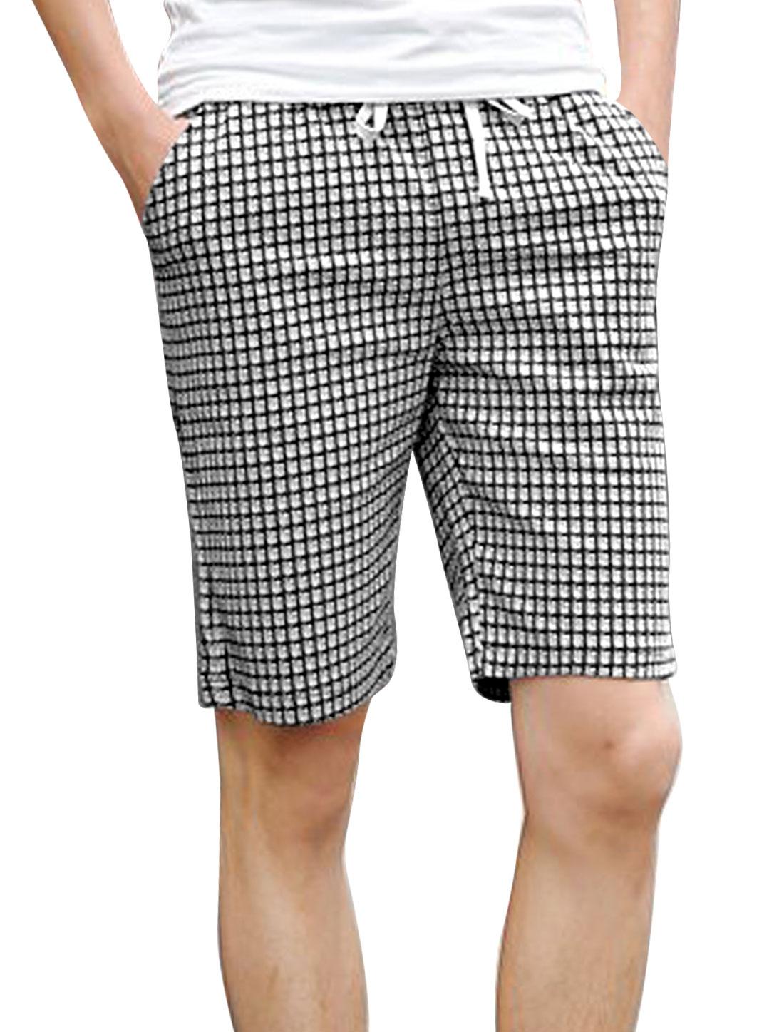 Men Single Pocket Back Plaids Pattern NEW Fashion Shorts Black Light Gray W28