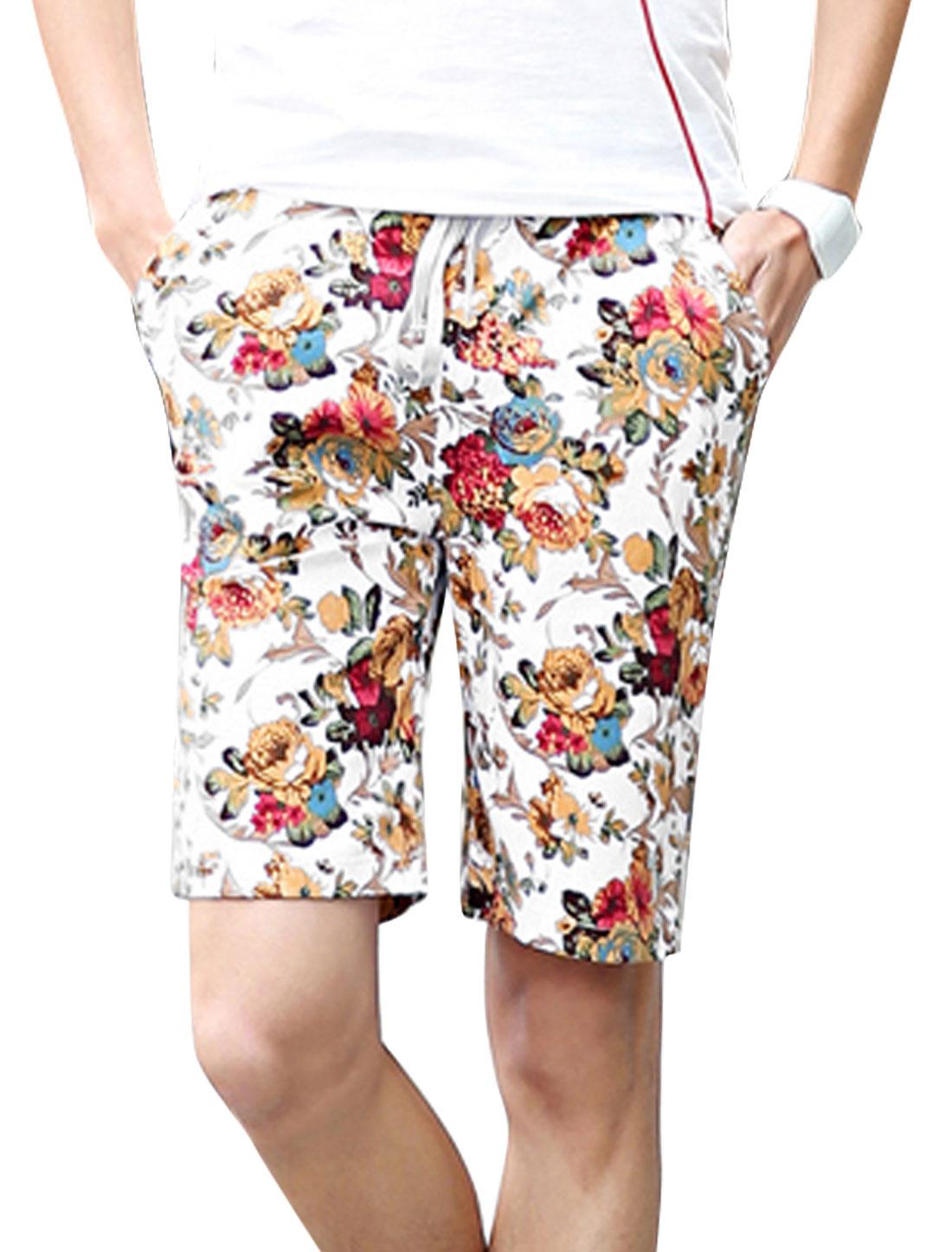 Men Hip Pocket Flower Pattern Casual Chic Shorts White Burgundy W28
