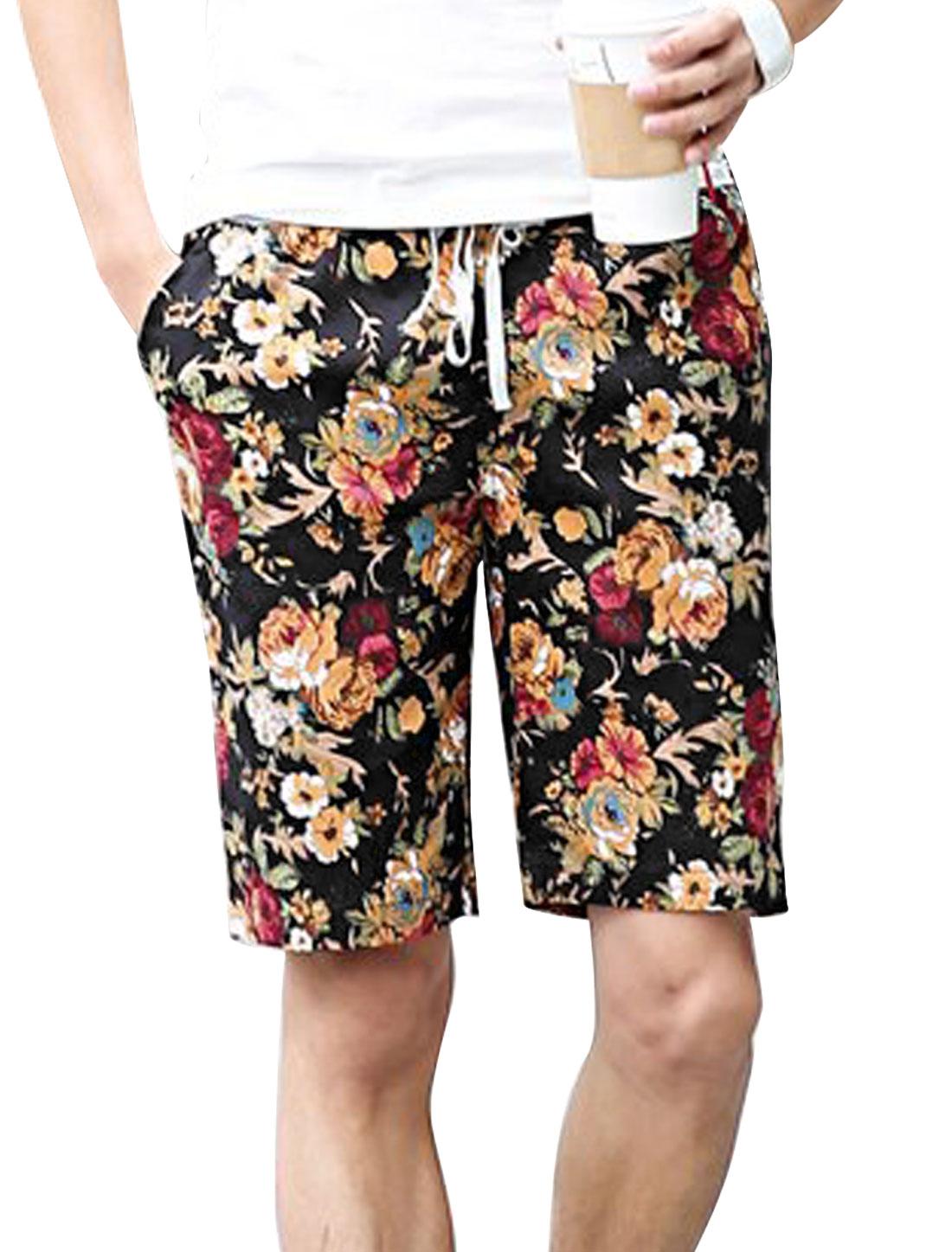 Men Single Back Pocket Flower Pattern Chic Shorts Black Burgundy W28