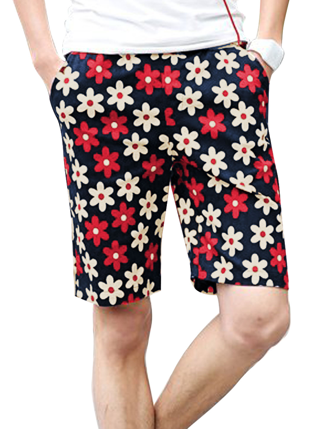 Men Ribbed Waist Flower Pattern Casual Fashion Shorts Red Navy Blue W28