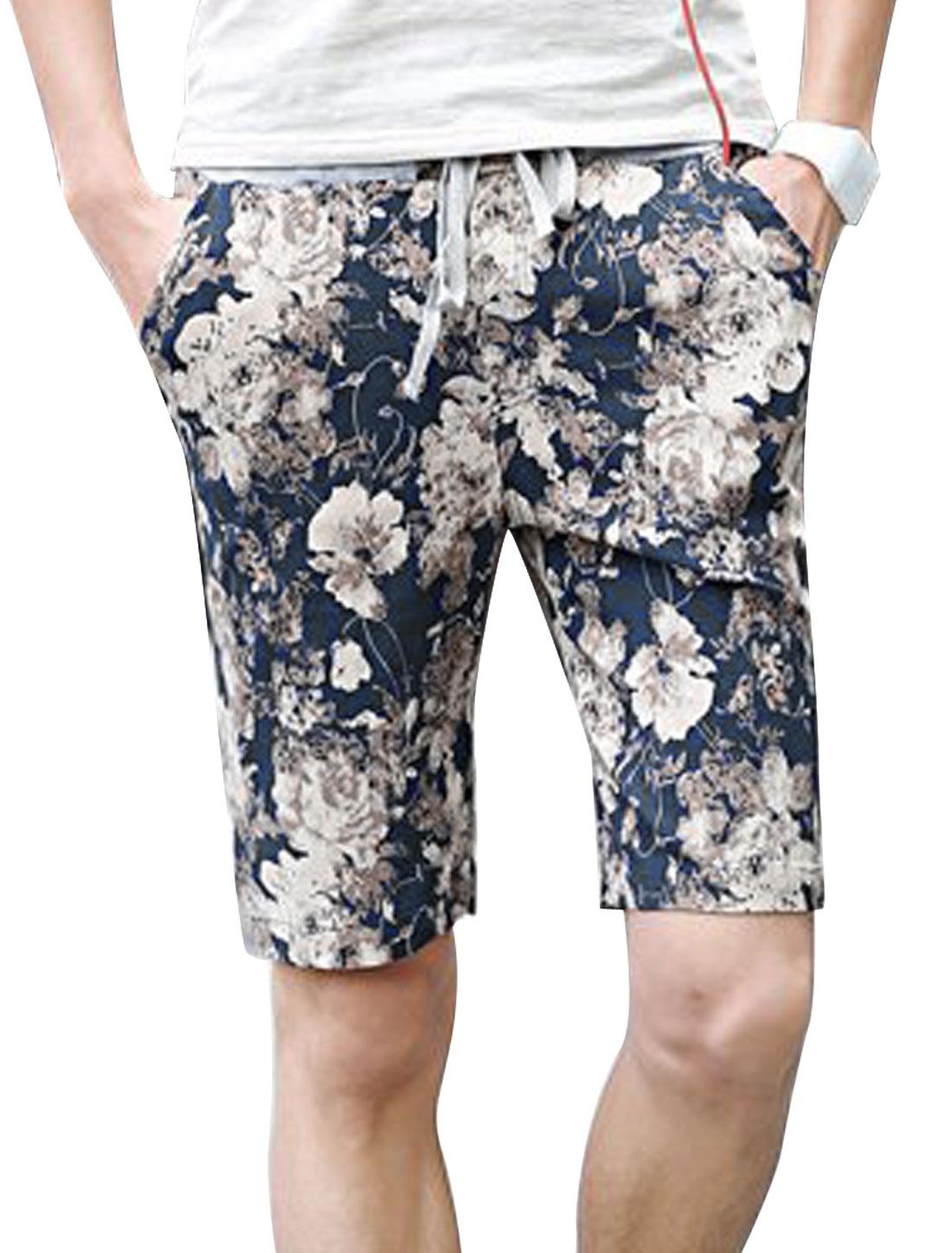 Men Pockets Front Floral Prints Casual Shorts Navy Blue Beige W28