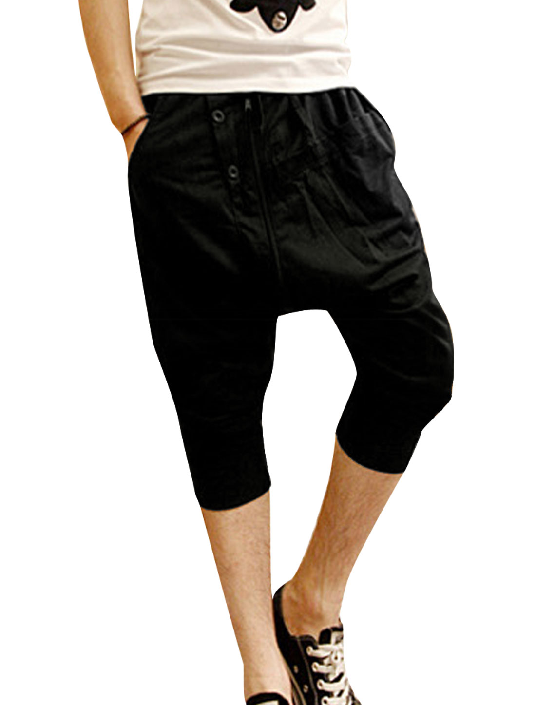 Men Elastic Drawstring Waist Pockets Front Capris Harem Pants Black W30