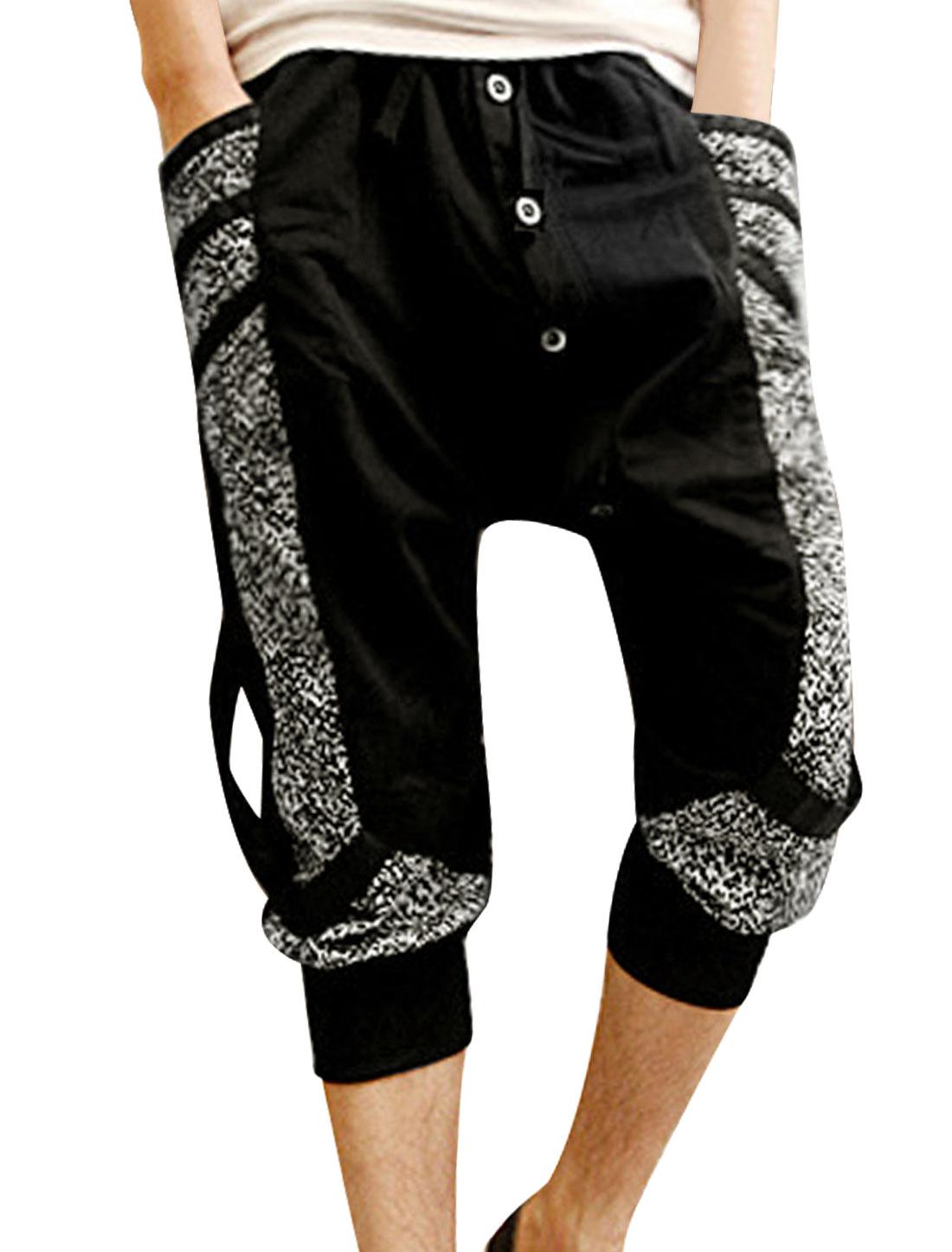Men Elastic Drawstring Waist Leopard Prints Capris Harem Pants Black W30