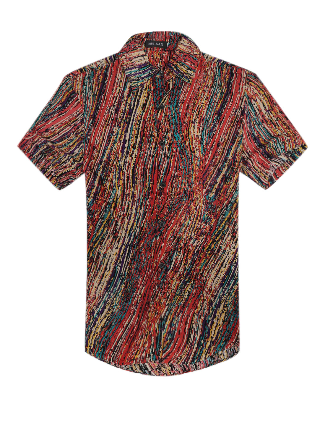 Men NEW Fashion Single Breasted Novelty Prints Round Hem Shirt Multicolor M
