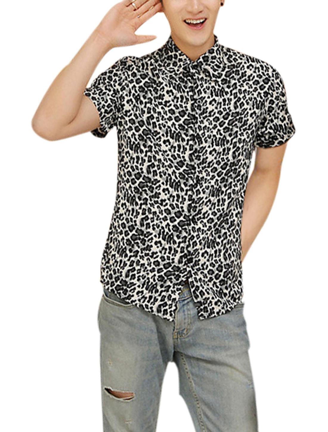 Men Soft Point Collar Leopard Prints Trendy Top Shirt Navy Blue M