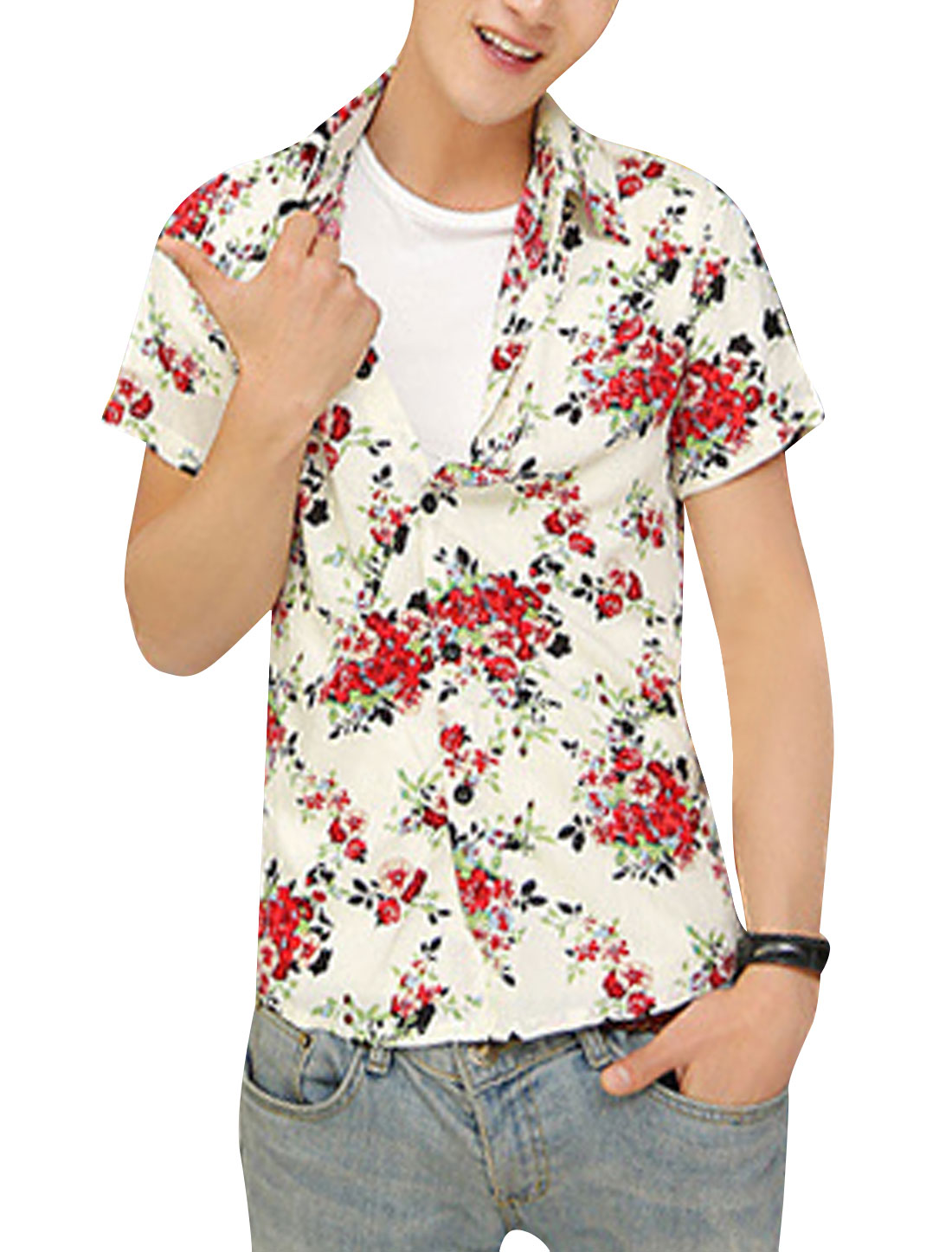 Men Button-Front Flower Pattern Round Hem Hawaii Style Shirt Beige Red M