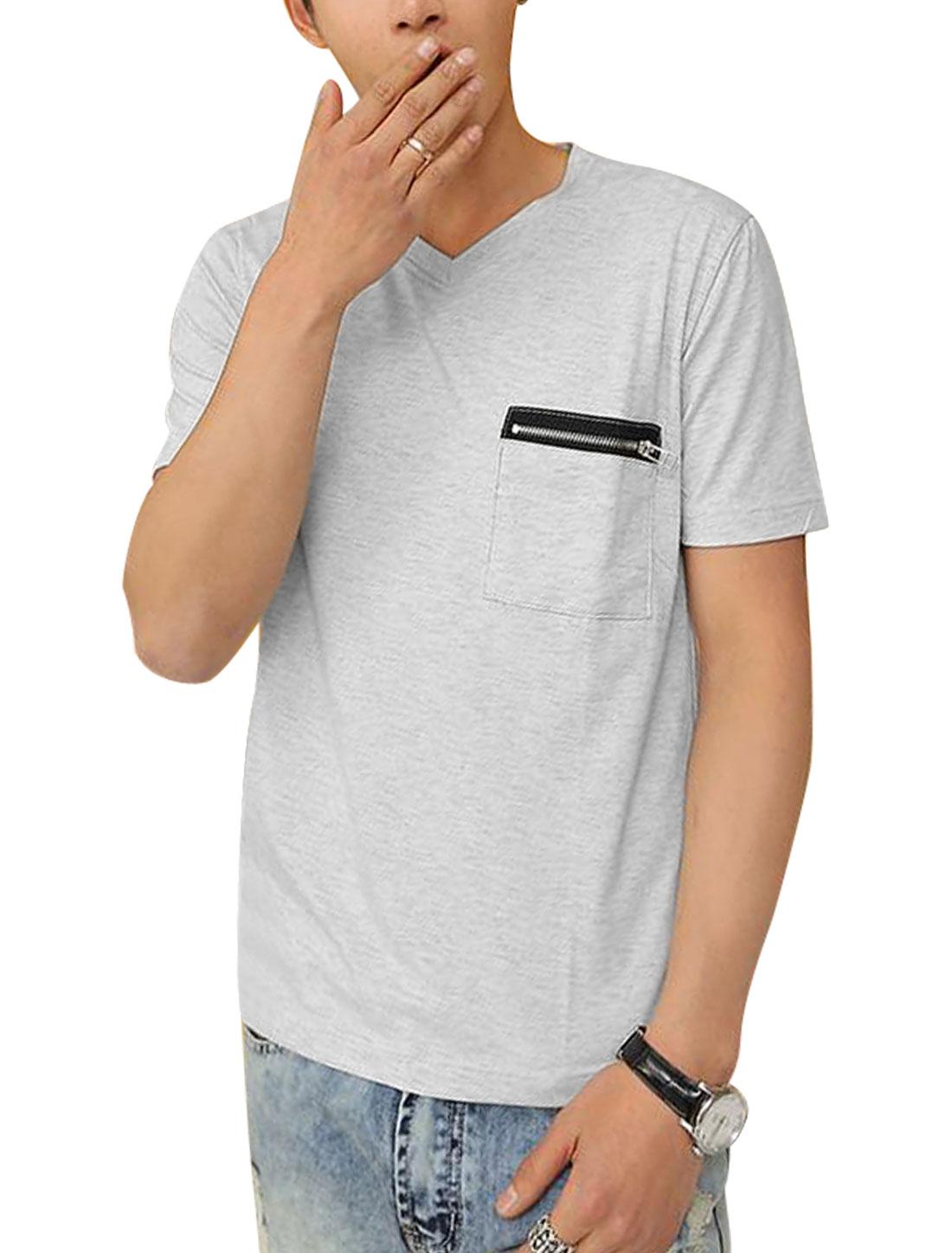 Men Short Sleeve Zip Up Chest Pocket Personalized Tee Shirt Light Gray S