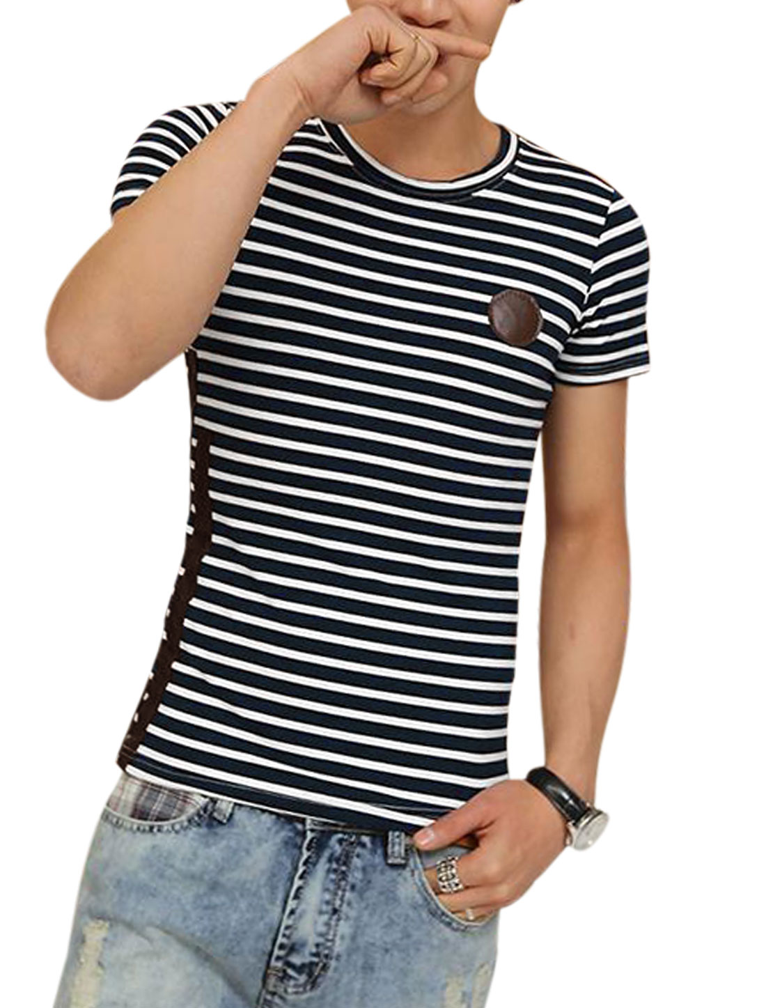 Men Stripes Pattern Imitation Leather Decor Cozy Fit T-Shirt Navy Blue White S