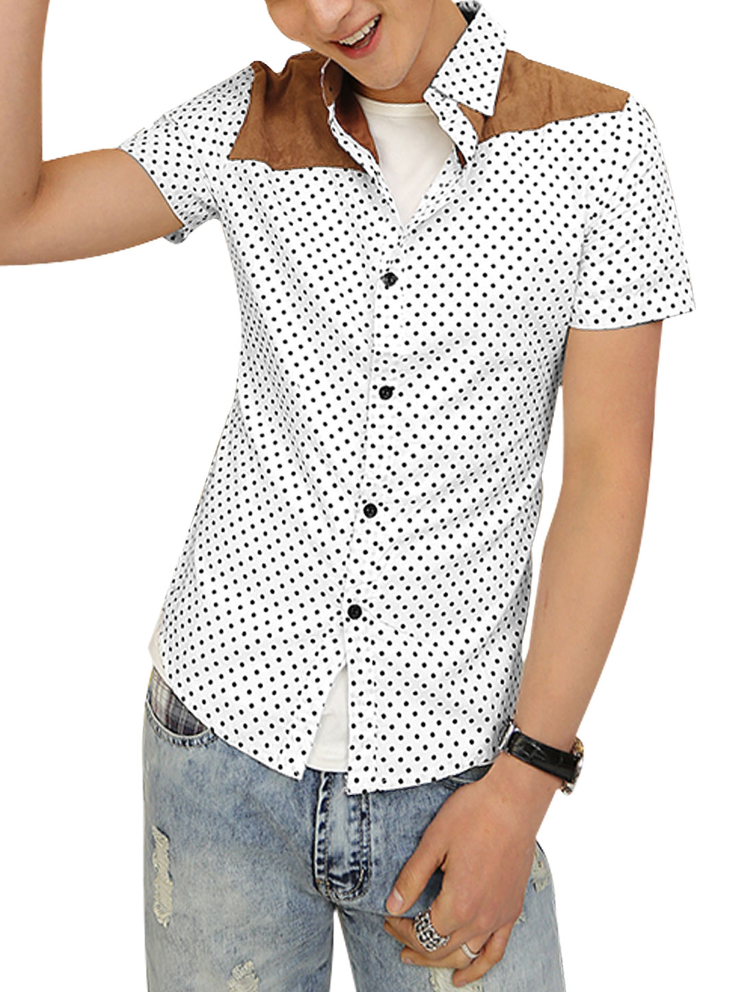 Men Point Collar Dots Buttons Closed Cozy Fit Top Shirt White S